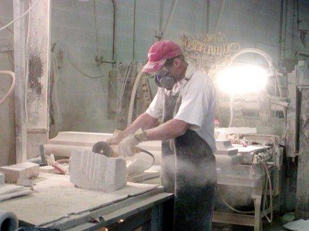 010727 27 Nauvoo Temple Stone - Worker cutting stone.JPG