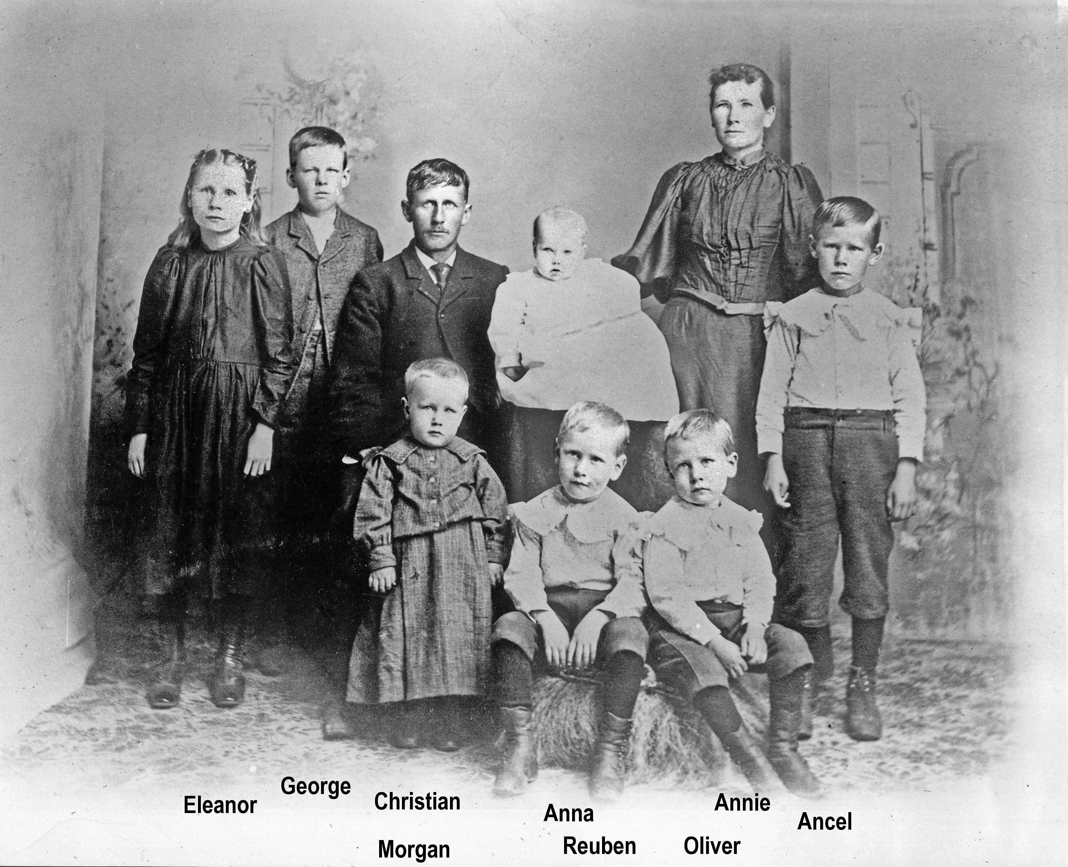 1901 Eleanor, George, Christian, Morgan, Anna, Reuben, Oliver, Annie, Ancel OH16-2 P68m Christian, Anna, Children